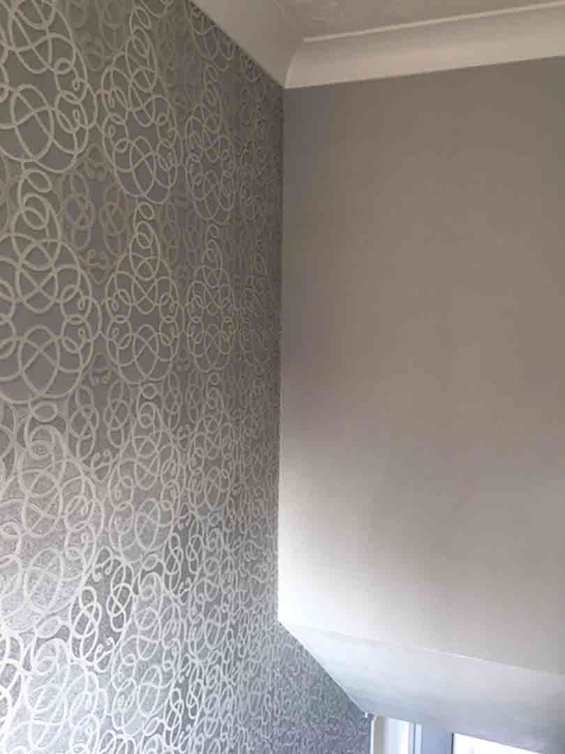 painter decorator lowestoft - Modern Stairwell Fully Wallpapered 01